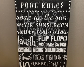 Personalized Pool Rules Subway Art Sign 2