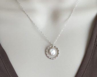 Dainty Sterling Silver Necklace. Coin Pearl Necklace. Sterling Silver. White Pearl Necklace. Long Necklace. Karma Necklace. Pearl Pendant.