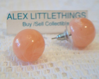 Vintage Classic Peach Ball Stud Earrings Post Coral Swirl Retro Costume Jewelry