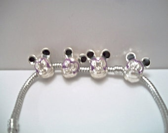 Mickey Mouse European Charm Bracelet Lavender Purple Costume Jewelry