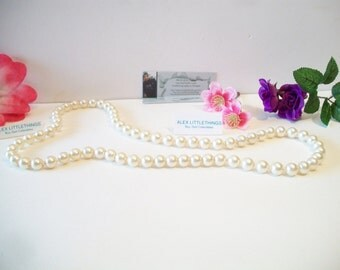 Vintage Faux Pearl Necklace Wedding Bridal Costume Jewelry No Clasp
