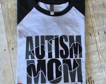 Autism Awareness Shirts/Autism Mom/Dad Baseball T-Shirt 3/4 Sleeves Raglan