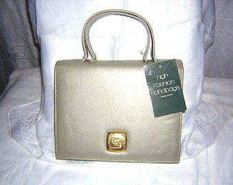 Taupe leather Kelly bag High Fashion unused with tags vintage purse detachable shoulder strap gift worthy