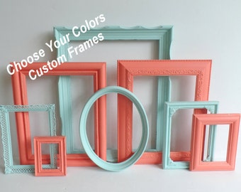 Choose Your Colors Custom Frame Collection -  Vintage Picture Frames - Distressed Frames - Gallery Wall - Wedding - Baby Nursery