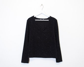 on sale - black fuzzy long sleeve top / sparkly gathered v-neck pullover / size L