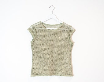 on sale - khaki green mesh t-shirt / light green cap sleeve top / size S