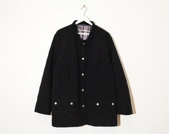 on sale - black quilted button-up jacket / loose boxy oversized spring coat / size XL / XXL