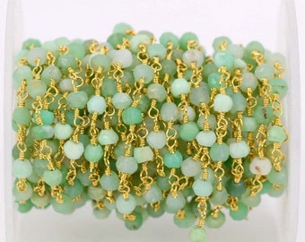 Beautiful Chrysoprase, 3-3.5mm 24k Gold Plated Wire Wraped Rosary Chain By Foot GemMartUSA (GPCP-30002)