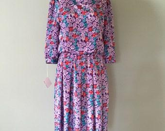 vintage slouch pastel day dress | floral dress