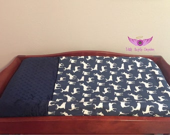 Premier Prints Navy Blue Deer Silhouette Fabric and Navy Blue Minky Changing Pad Cover