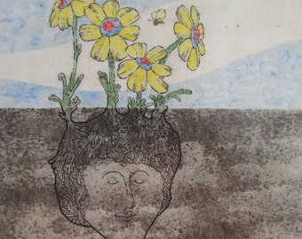 Original Art by Willis H. Goldsmith paper on Board mixed media Girl with Flowers