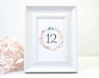 PRINTED Wedding Table Number, White Shimmer, Script, Grey, Rustic, Wreath, FLoral, Elegant, Simple, SIMPLY RUSTIC Design