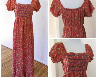 70s Gunnie Sax Maxi Dress 70s Hippie Festival Bohemian Maxi