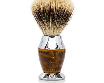 Best Badger Bristle Faux Horn Handle Shaving Brush - Personalized - Brush Stand Included -Perfect gift for men for Christmas or fathers day!