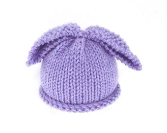 Knitted baby girl hat bunny rabbit - lilac lavender - PICK OWN SIZE - preemie newborn baby toddler child - hand knitted - Easter photo prop
