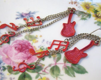 Vintage Red Guitar Earrings...Music Notes...Silver Chains...Music Lover Earrings...Music Jewelry