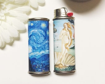 Art Student Lighter Case Birth of Venus or Starry Night