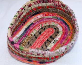"Coiled Fabric Basket ~~~ Coiled Fabirc Bowl ~~~  Catch All Basket ~~~Trinket Basket ~~~ 6"" x 8 ""    2 1/2"" Deep ~~~ So Shabby Chic"