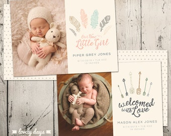 Birth Announcement for Boy and Girl set of Two INSTANT DOWNLOAD