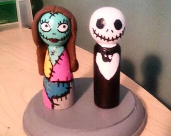 Jack and Sally Cake Topper/Nightmare Before Christmas Cake Topper/Peg topper,Jack Skellington/Zombie/Skeleton/TIm Burton
