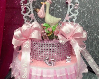 Pink Stork Centerpiece Girl or Boy Baby Shower Centerpiece Cake Topper