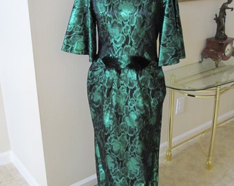 GREEN METALLIC BROCADE Holiday Gown With Black Feathers