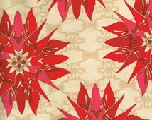 Free Spirit Quilt / Quilting Fabric Tina Givens for Free Spirit Star Flakes and Glitter Poinsettia Top / High Quality Fabric By The Yard
