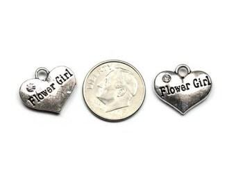 Antique Silver Rhinestone Flower Girl Heart Charms 2 QTY