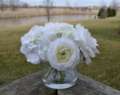 Mixed White Flowers Silk Arrangement, Roses, Hydrangea & Ranunculus, in Cylinder Glass Vase, Christmas Flowers, Holiday Flowers