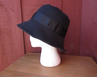 Ladies' Solid Black Fleece Bucket Hat with Black Ribbon Band