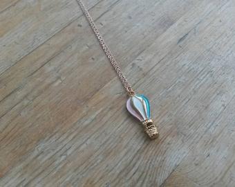 Hot Air Balloon Necklace/Balloon Charm/Hot Air Balloon Pendant/Gold Balloon Necklace/Cute Necklace/Balloons/Up Jewellery/Stripe/Enamel
