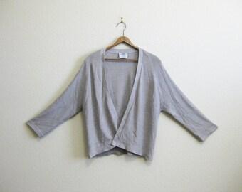 Zoran Beige Silk Drape Cardigan ITALY Medium Large Heather Gray