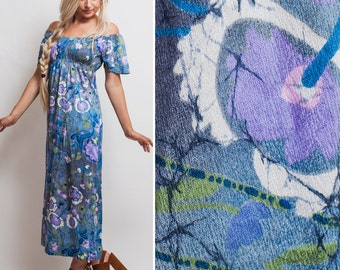 Blue floral dress- Vintage 70s off the shoulder BOHO maxi PURPLE hippie festival 1970s SEVENTIES colorful abstract dress
