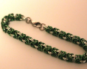 Byzantine Chainmaille Bracelet   Hand Crafted Chainmaille Jewelry   Handmade Bracelet  Very Green   Anodized Aluminum