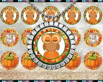 """Fall Owls Pumpkins - INSTANT DIGITAL DOWNLOAD - 1"""" Bottlecap Craft Images (4x6) Digital Collage Sheet"""