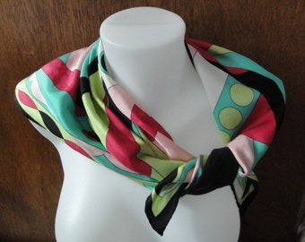 Womens Vintage Colorful Pop Art Silk Scarf 26 Inch Square