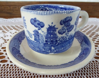 Antique BUFFALO Blue Willow Pattern Teacup and Saucer Circa 1920's to 1940's Restaurant Ware