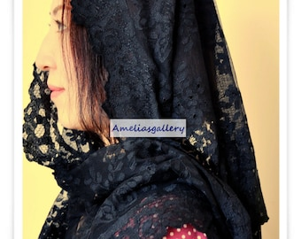 100% Hand Embroidered spanish catholic lace mantilla chapel veil