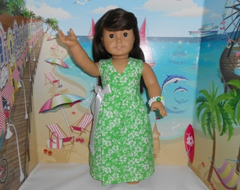 "Doll Clothes Green Summer Wrap Dress Handmade Fits 18"" American Girl Dolls"