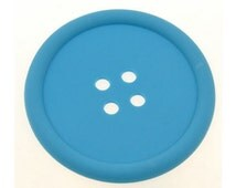 Big Button Silicone Coaster Blue Cup-mat Place-mat Tea Coffee Heat Resisant for Home Kitchen Office Desk