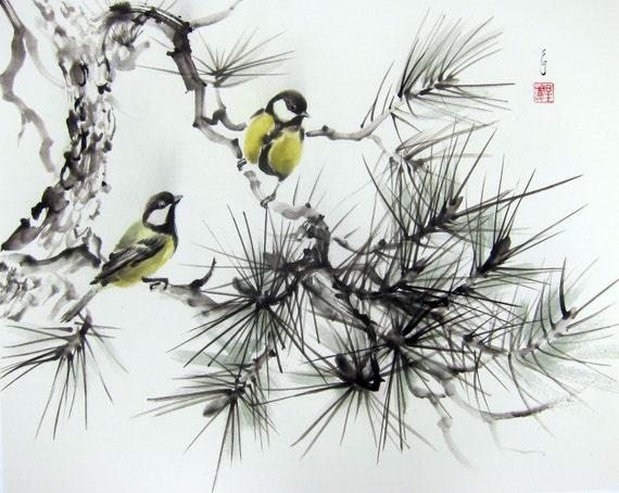 Items similar to japanese ink painting ink art asian art sumi e suibokuga flower and birds - Dessin arbre japonais ...