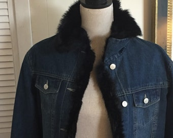 Denim Jacket Faux Fur ... Free Shipping