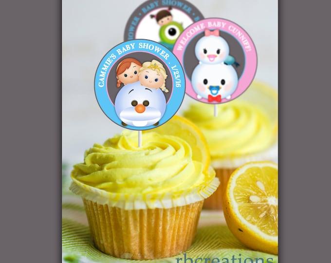 Tsum Tsum Baby Shower, Tsum Tsum Cupcake Toppers, Tsum Tsum Party, Tsum Tsum Birthday, Tsum Tsum Party Supplies - Digital Printable