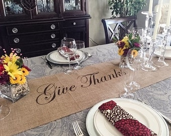 """Burlap Table Runner 12"""", 14"""" or 15"""" wide with Give Thanks in the center - Thanksgiving runner Holiday decorating Holiday runner"""