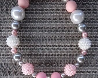 bubble gum necklace, newborn photo prop, chunky baby necklace, pink silver bead necklace, toddler chunky bead necklace