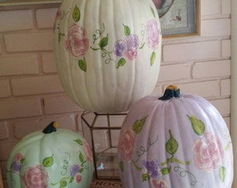 GORGEOUS Must Have SET OF 3 Handpainted Artisan Shabby Chic Victorian Romance Rose Motif Resin Pumpkins~Fall~Halloween