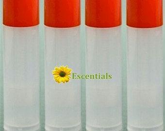 Natural Lip Balm Tube w/ Orange Cap - 10 Pack