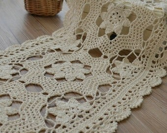 """Crochet Ecru 34"""" Oblong Table Runner Woodland Wedding Floral Cotton French Country"""