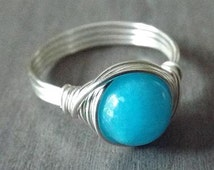 Blue Jade Ring, Wire Wrapped Ring, Blue Stone Ring, Ocean Blue Ring, Silver Jade Ring, Blue Jade Jewelry, Gift for Niece, Homemade Jewelry