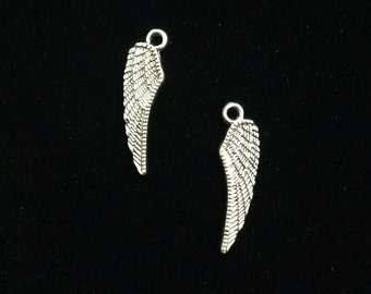 16 Pieces Wing charms double-sided wing charms 27x8mm antique silver finish, angel wing charms 6-20-AS